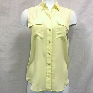 NWT Equipment Sleeveless Yellow Silk Blouse